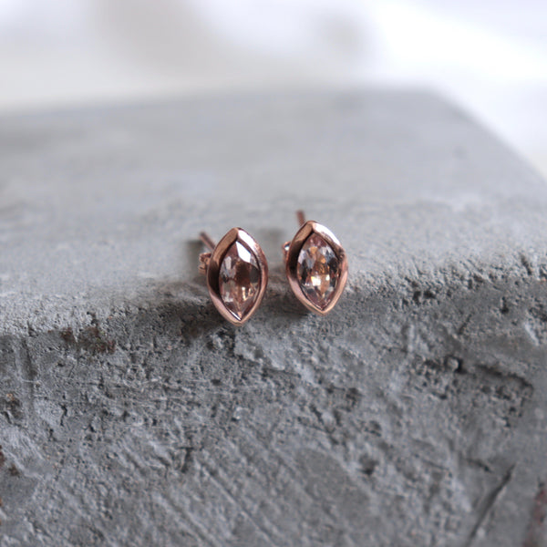 Morganite earrings in rose gold