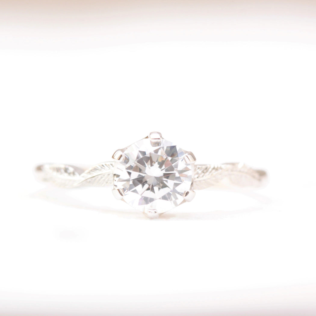 one carat solitaire leaf engagement ring