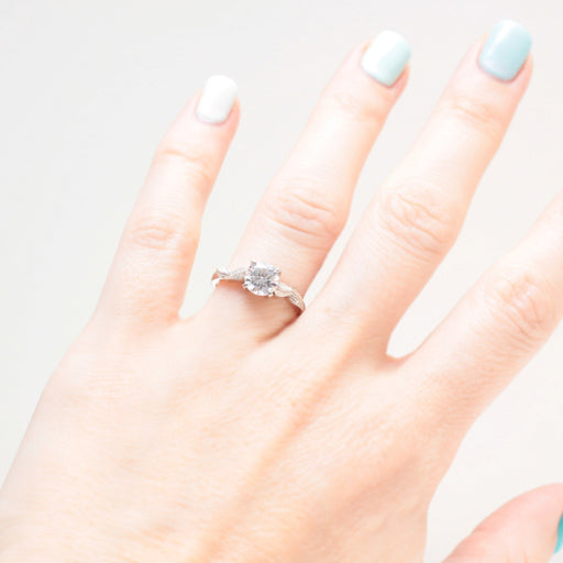 moissanite leaf engagement ring white gold