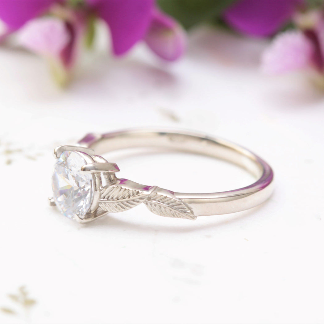 one carat solitaire leaf ring