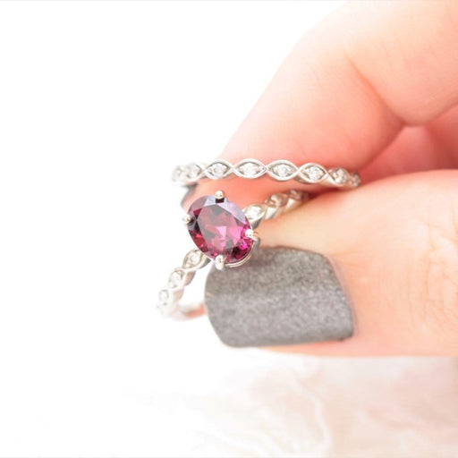 rhodolite garnet  and diamond engagement ring