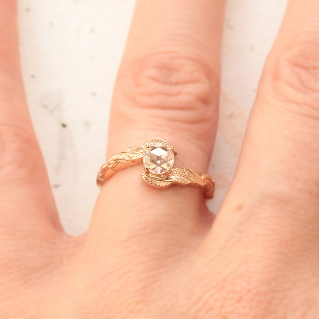 moissanite nature engagement ring in rose gold