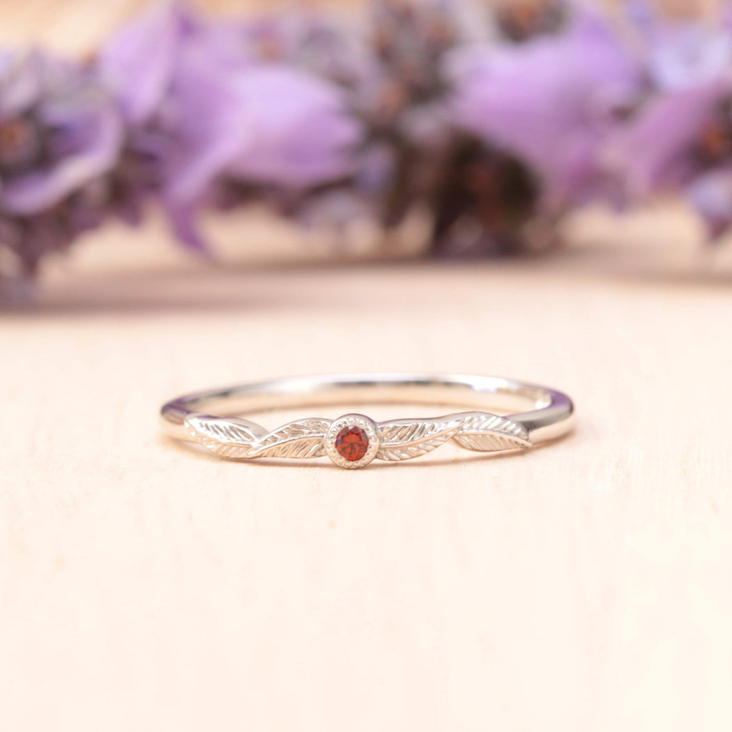 ruby birthstone leaf ring