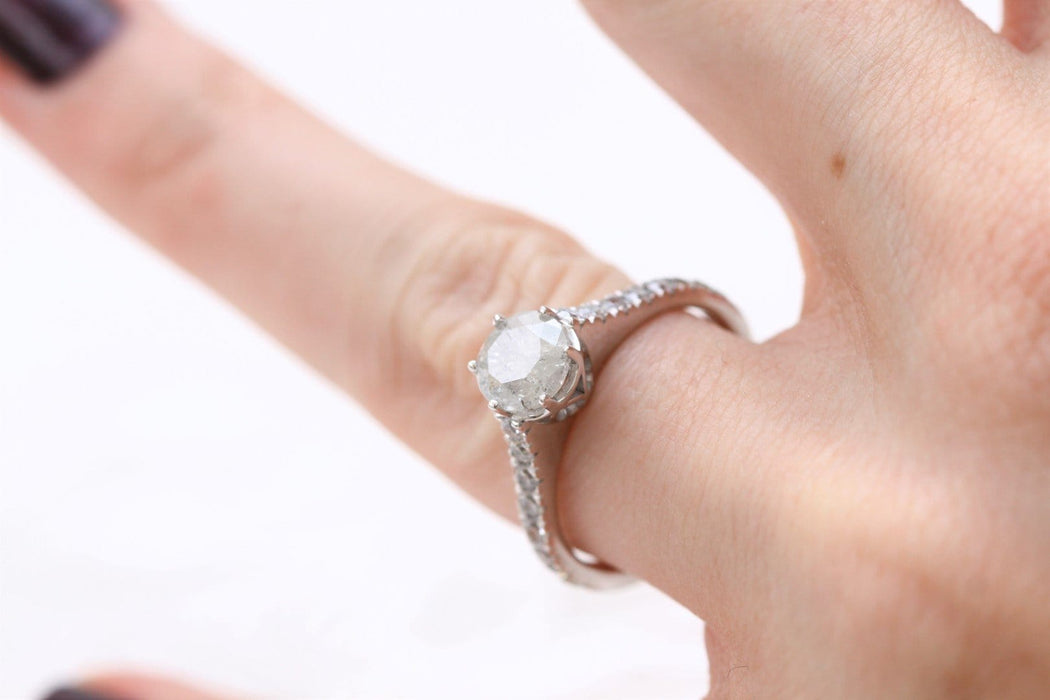 salt and pepper diamond ring on hand