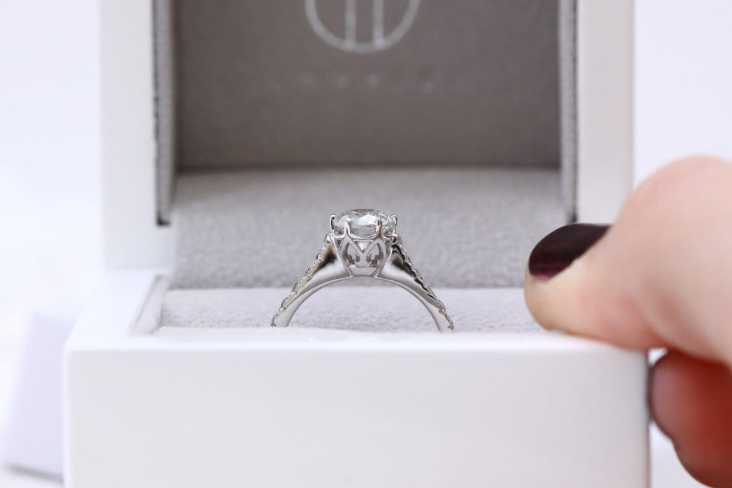 salt and pepper diamond ring in ring box
