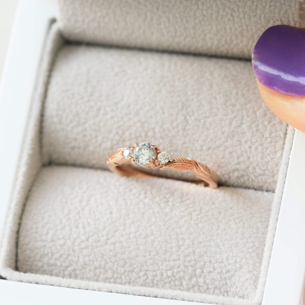 diamond nature inspired engagement ring