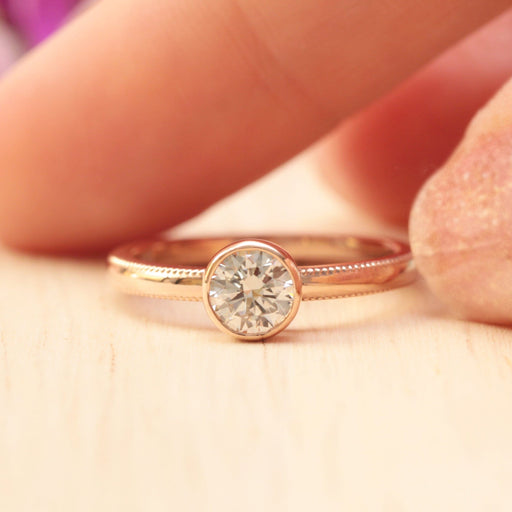 milgrain diamond engagement ring rose gold