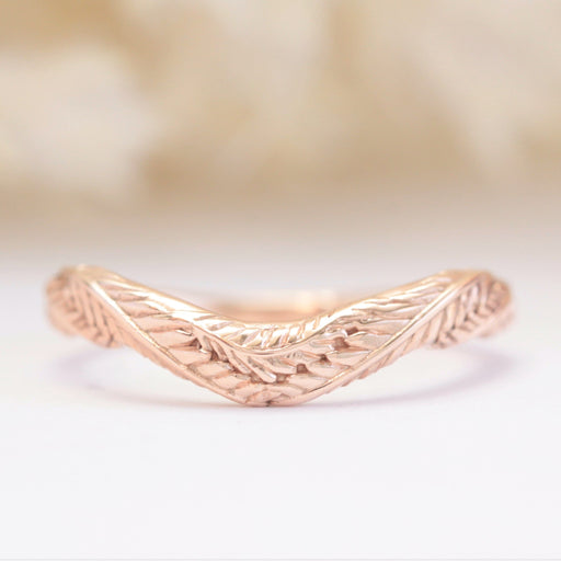 leaf wedding band rose gold