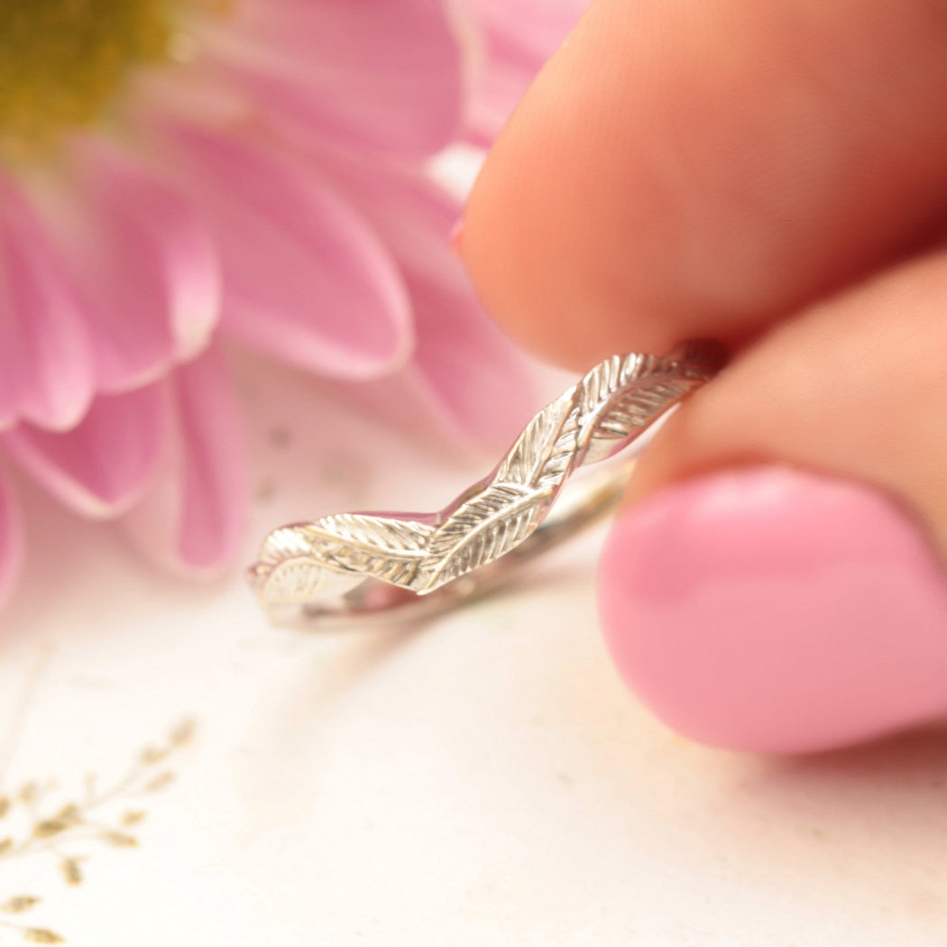 curved leaf wedding band white gold