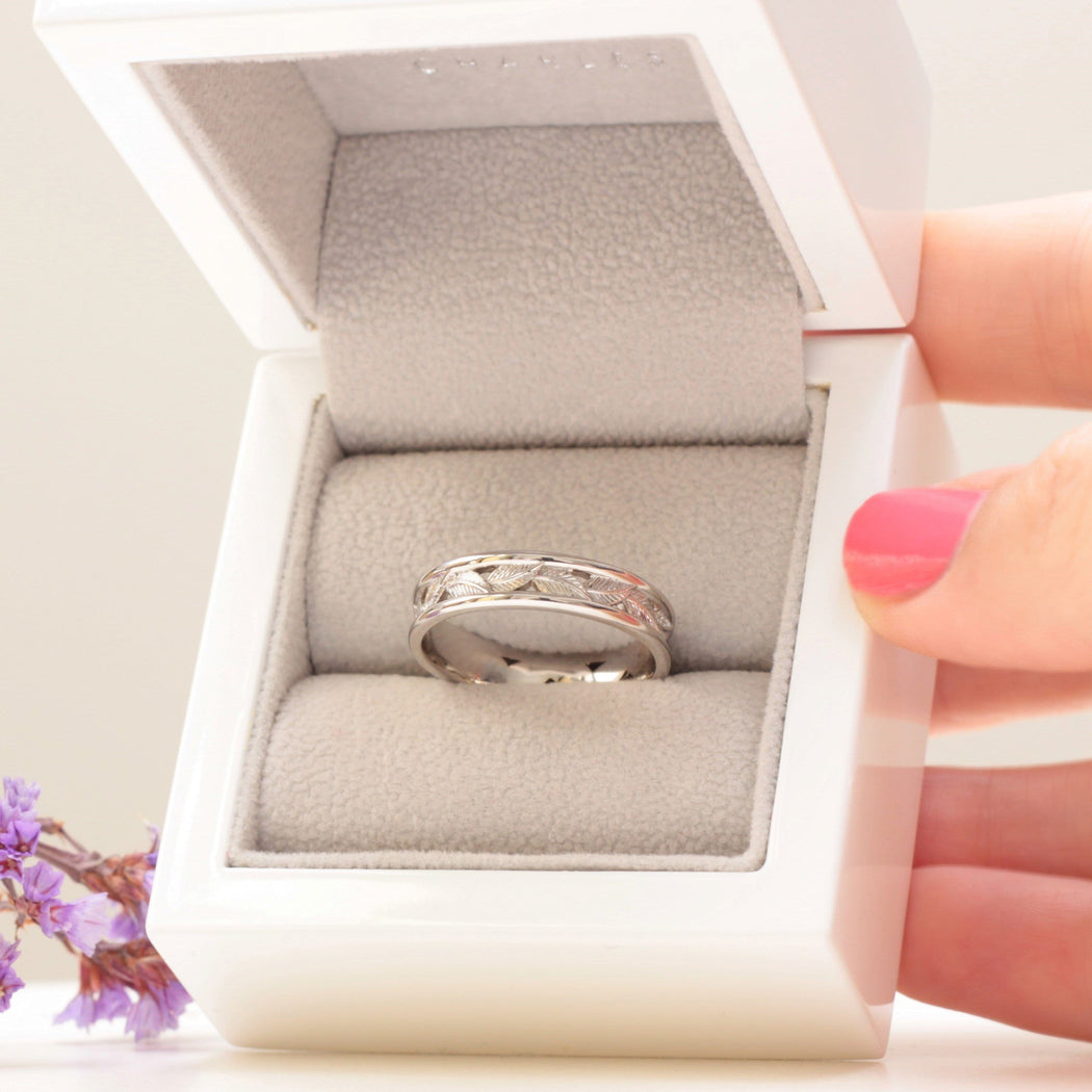 white gold eternity leaf ring wedding band set