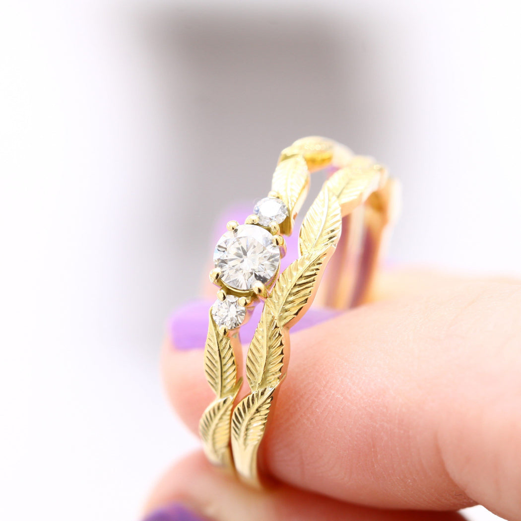yellow gold leaf ring and diamond ring