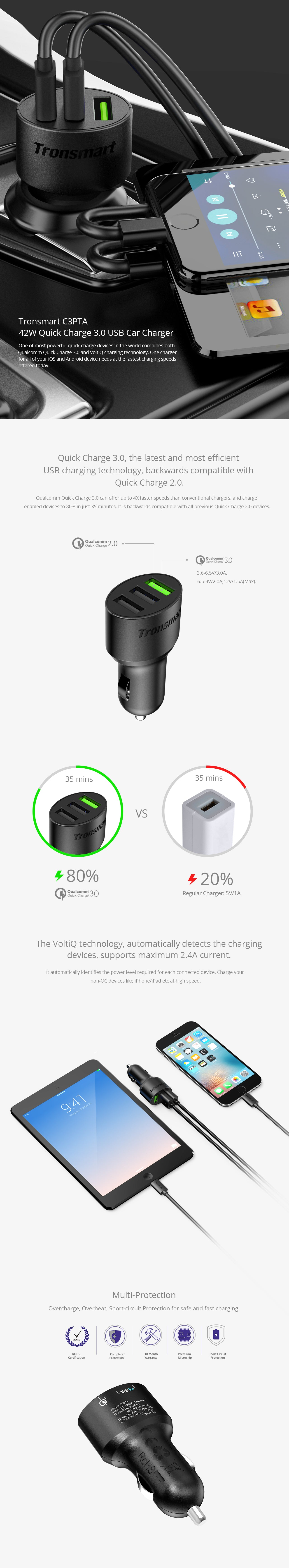 TRONSMART TS-C3PTA 42W 3-PORT USB CAR CHARGER WITH QUALCOMM QUICK CHARGE 3.0 AND VOLTIQ TECHNOLOGY