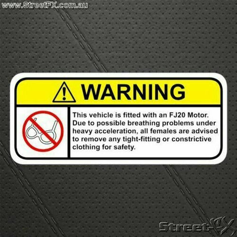 FJ20 Visor Warning Sticker Decal for Nissan 240 Skyline RS GP DR30 16E 33D