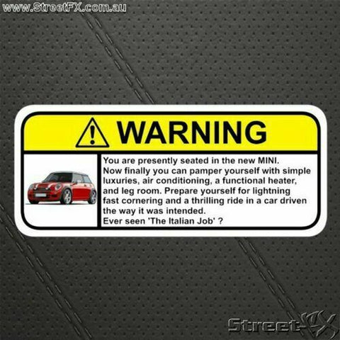 Visor Warning Sticker Funny Humor  for Mini Cooper Clubman S Convertible Country