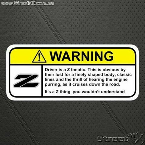 Z DRIVER Visor Warning Sticker Decal Funny for Nissan 300z 350z 370z