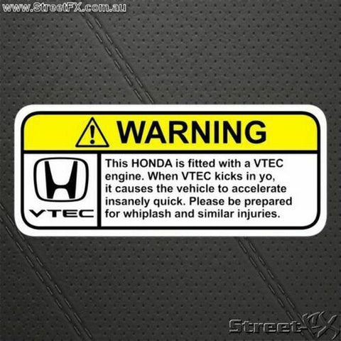 VTEC (H) Visor Warning Sticker for Honda EX CX DX LX B16A2