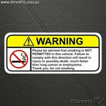 NO SMOKING Visor Warning Sticker Decal Funny Humor for TAXI RIDE SHARE