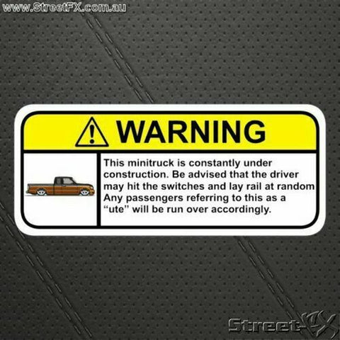 MINITRUCK Under Constructions Visor Warning Sticker Decal For Toyota Ford Mazda