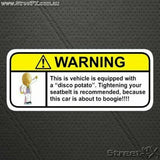 DISCO POTATO Visor Warning Sticker Decal Humor Funny JDM Hot Road Drift Race Car
