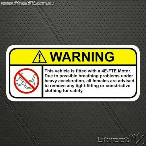 4EFTE Visor Warning Sticker Decal Funny Motor Engine for Toyota Corolla Starlet