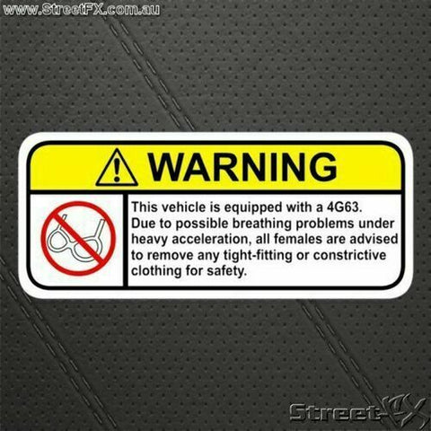 4G63 Visor Warning Sticker for Lancer Starion Laser Pajero Galant Eclipse Cordia