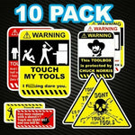 10 Pack TOOLBOX WARNING DECALS  Construction Job Site Tradie Work OH&S Funny
