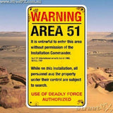 WARNING AREA 51 Sign Sticker Decal Funny Humor Aliens UFO Secure Area