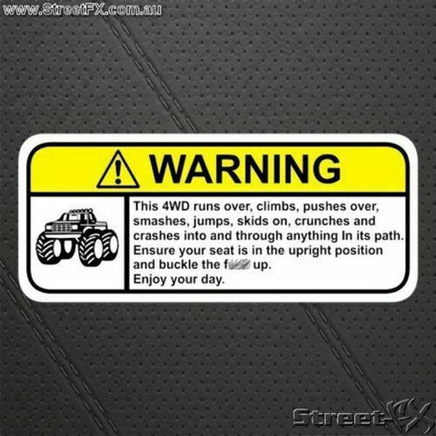EXTREME 4X4 Visor Warning Sticker Offroad Funny for Ford Toyota Holdan Isuzu
