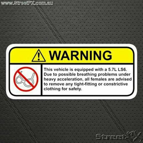 LS6 Visor Warning Sticker Decal Funny fro Corvette Cadillac Chevy Z06 C5 CTS