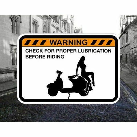 CHECK SCOOTER LUBE! Warning Sticker for Vespa Honda Peugeot Lexmoto Aprilia