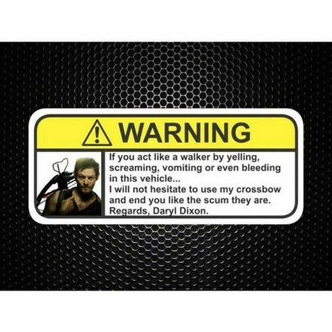 Daryl Dixon Visor Warning Sticker Funny Humor Decal Dead Zombie