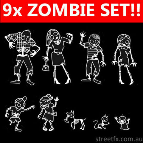Zombie Family Sticker Decal Set MyFamily Walking Dead Scary Undead 4x4 JDM Euro