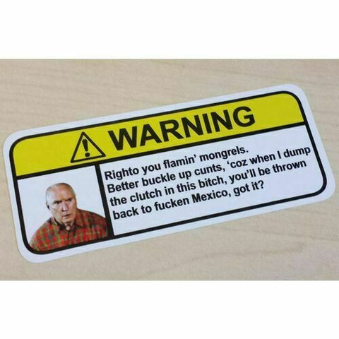 ALF STEWART Visor Warning Sticker Decal Funny Neighbours Meme Aussie Australia