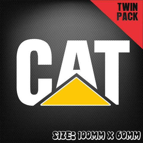 2x CAT CATERPILLAR Powered Sticker Decal Excavator Bulldozer Tractor Safety
