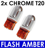 2x T20 Wedge Bulb [7440] CHROME Silver INDICATOR Bulbs (amber flash). T20 Wedge fitment - Street FX Motorsport & Graphics