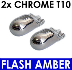 2x T10 Wedge Bulb [194] CHROME Silver INDICATOR Bulbs (amber flash). T10 Wedge fitment - Street FX Motorsport & Graphics