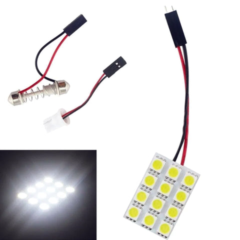 12 SMD LED Car Dome Map Light Panel Xenon White T10 BA9S Festoon  12v