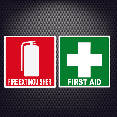 First Aid Kit Fire Extinguisher Sticker Construction OH&S Safety Hazard Decal