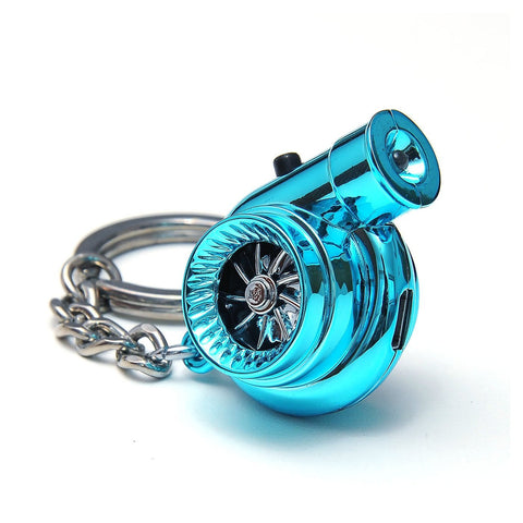 Blue Portable Spinning Turbo Turbine Key·Ring Keychain Ring Keyring Keyfob JDM