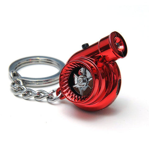 Red Portable Spinning Turbo Turbine Key·Ring Keychain Ring Keyring Keyfob JDM