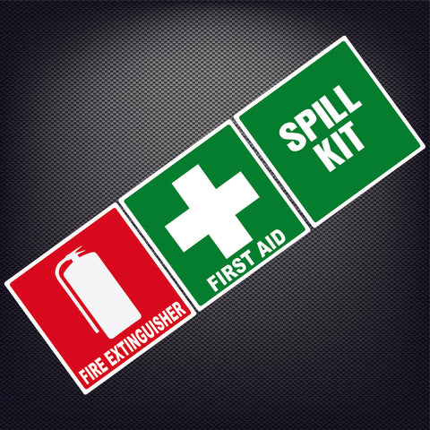 First Aid and Fire Extinguisher Spill Kit WHS Sticker Health Safety Truck Ute