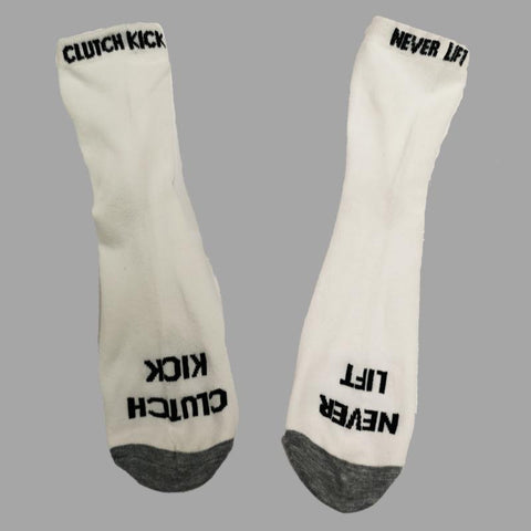 Clutch Kick – Never Lift - Uni-sex socks - White - Street FX Motorsport & Graphics