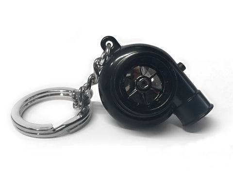 Black V4 Electric Spinning Turbo Turbine Key·Ring Keychain Ring Keyring Keyfob