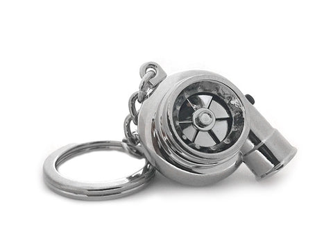 Chrome V4 Electric Spinning Turbo Turbine Key·Ring Keychain Ring Keyring Keyfob
