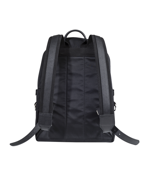 CITY BACKPACK - BLACK NYLON & LEATHER