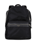 City Backpack In Black Nylon And Leather