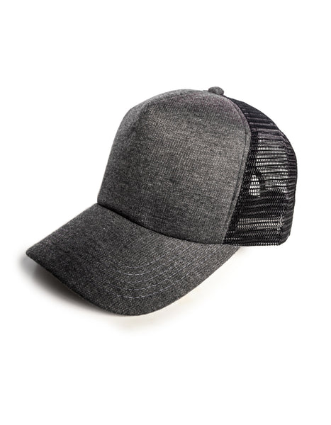 grey knit trucker