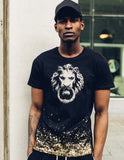 LION'S HEAD DIPPED IN GOLD T-SHIRT - BLACK