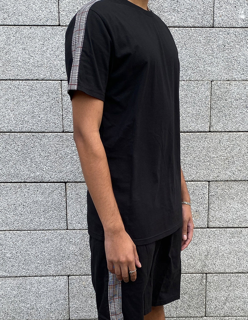 Check Stripe T-Shirt - Black