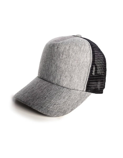 grey knit trucker cap